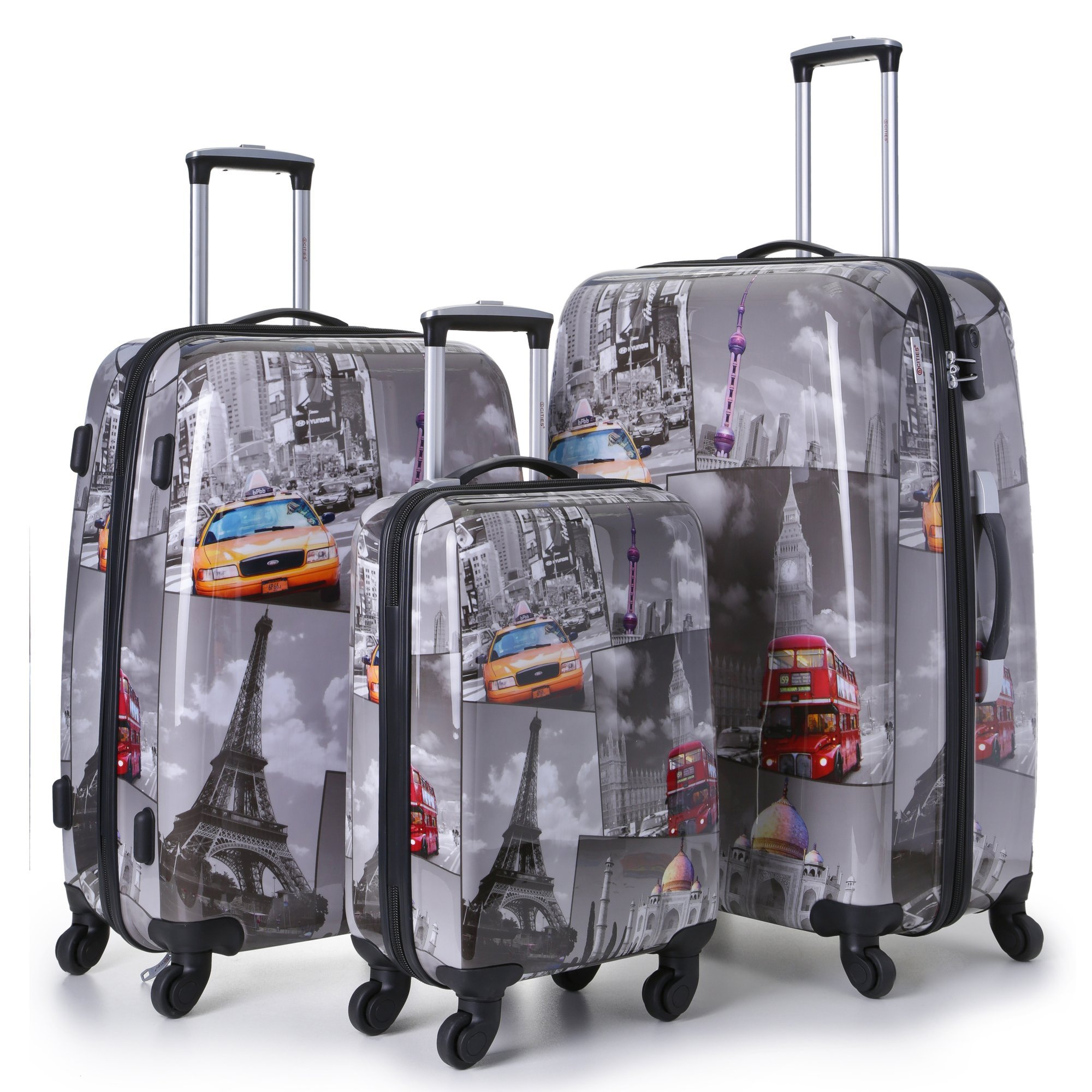 e862579c415d 5 Cities 3 PCS SET 21/25/29 Hardshell Luggage Suitcase 4 Wheel Spinner  Trolley Bag (Black/White)