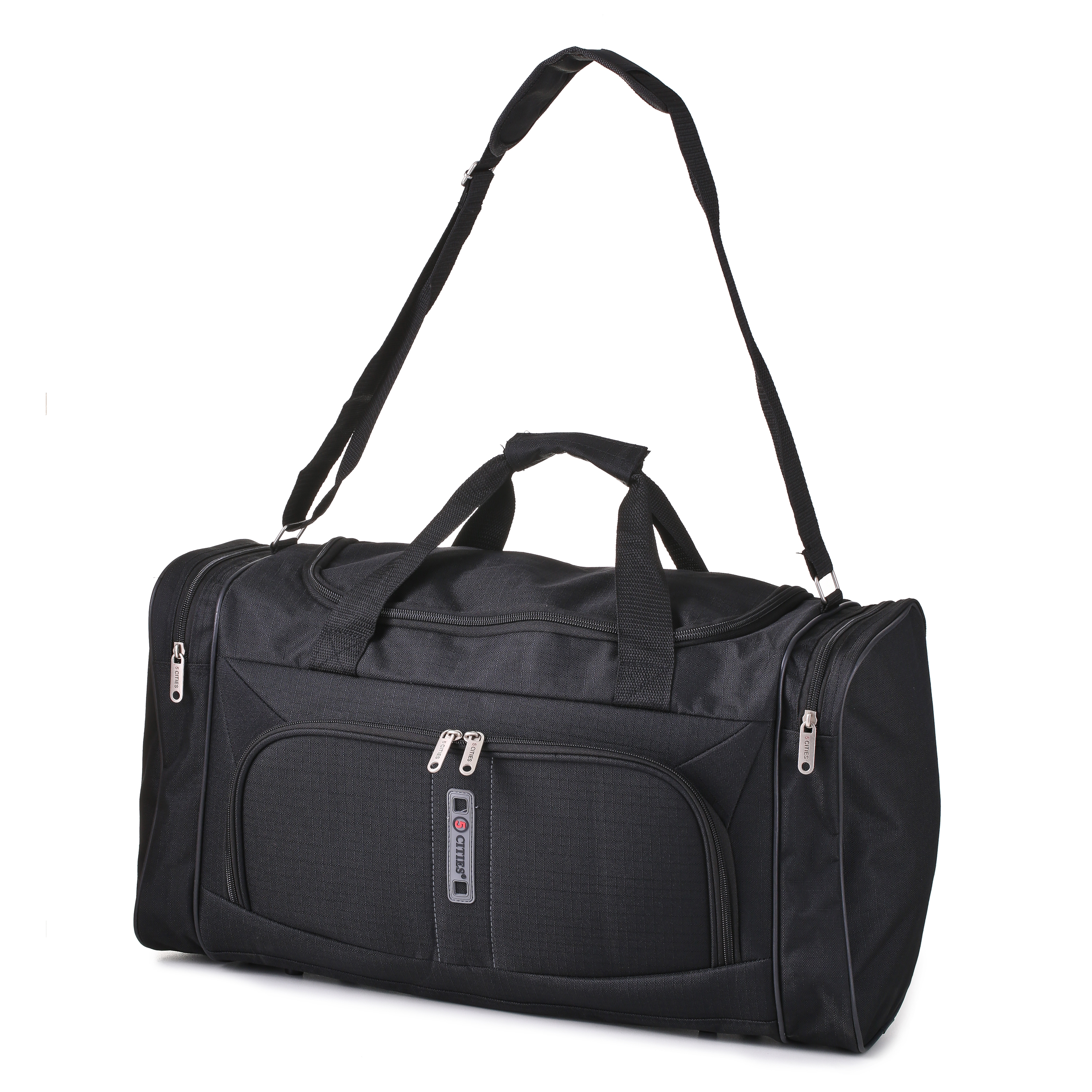 5Cities Travel Cabin Hand Luggage Lightweight Holdall Bag Black HOLD602
